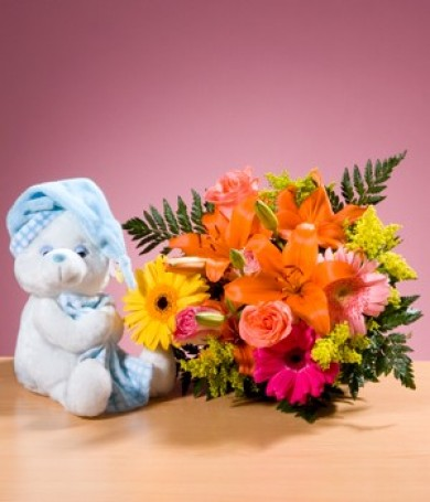 Assorted Bouquet and Bear